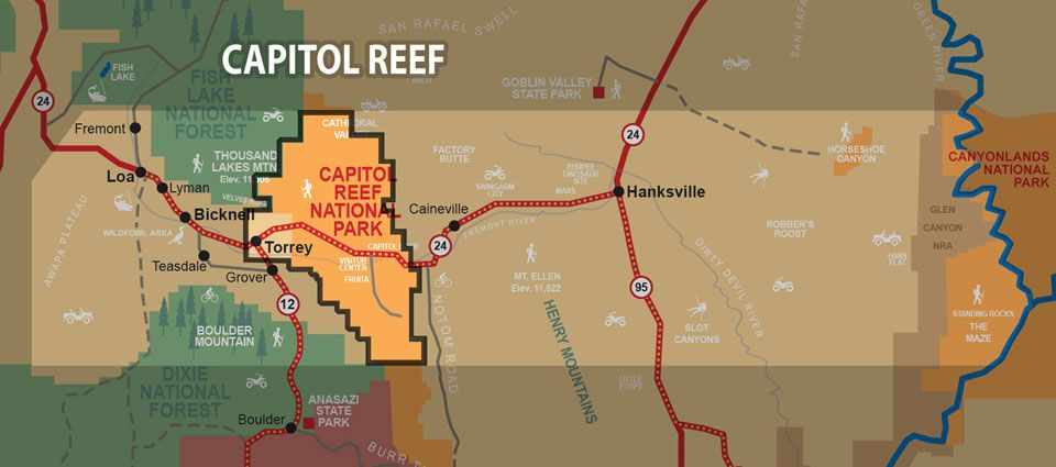 Capitol Reef Map Utahs South Central region Capitol Reef