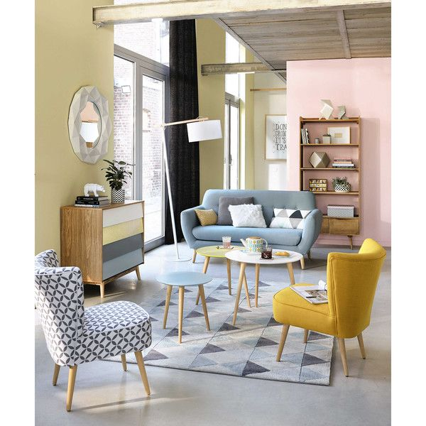 Cotton patterned vintage armchair in grey and white Tables, Living