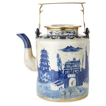 Check out this item at One Kings Lane! Large Great Wall Teapot, Blue/White