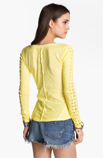 Free People Lace Trim Henley   Nordstrom