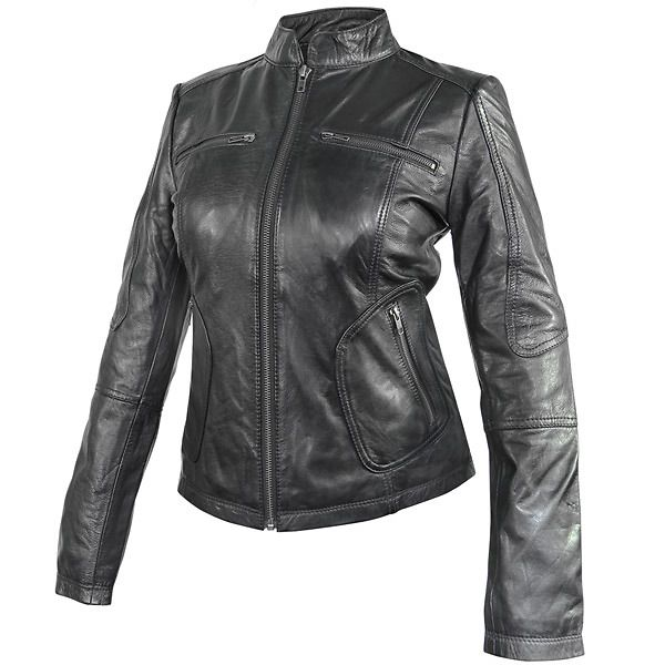 Xelement Womens Cafe Racer Black Casual Leather Jacket Leatherup