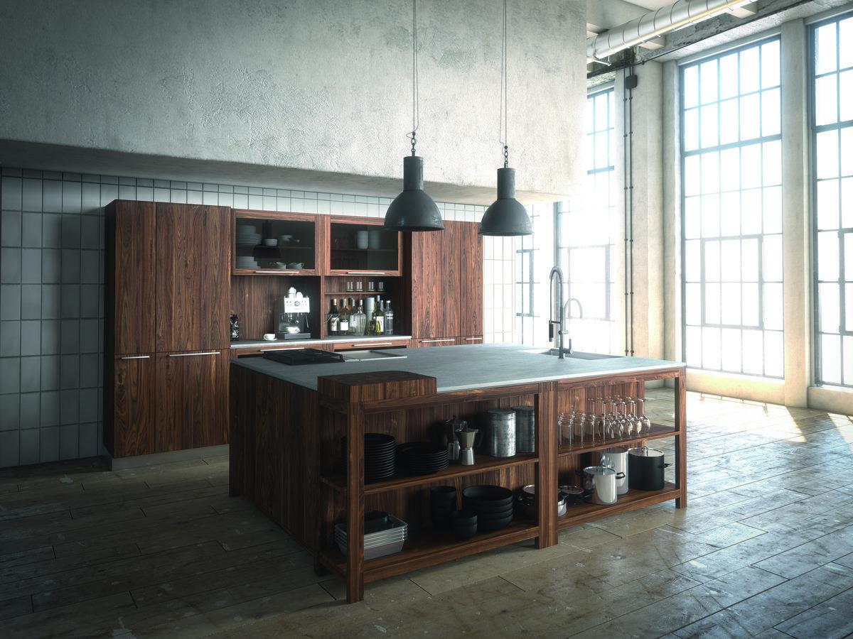 Loft Küche mit großer Kücheninsel aus dunklem Nussbaumholz | Küche ...