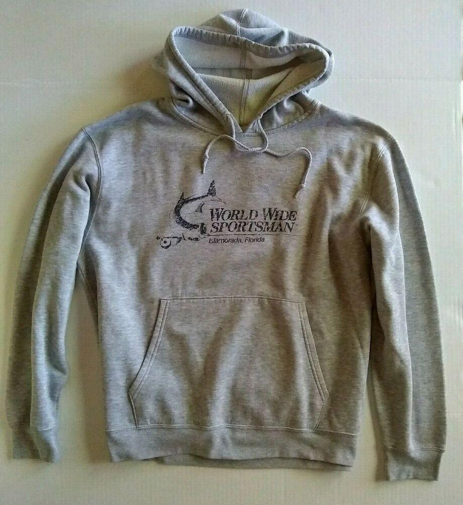 vtg faded hoodie WORLD WIDE SPORTSMAN gray LARGE worn