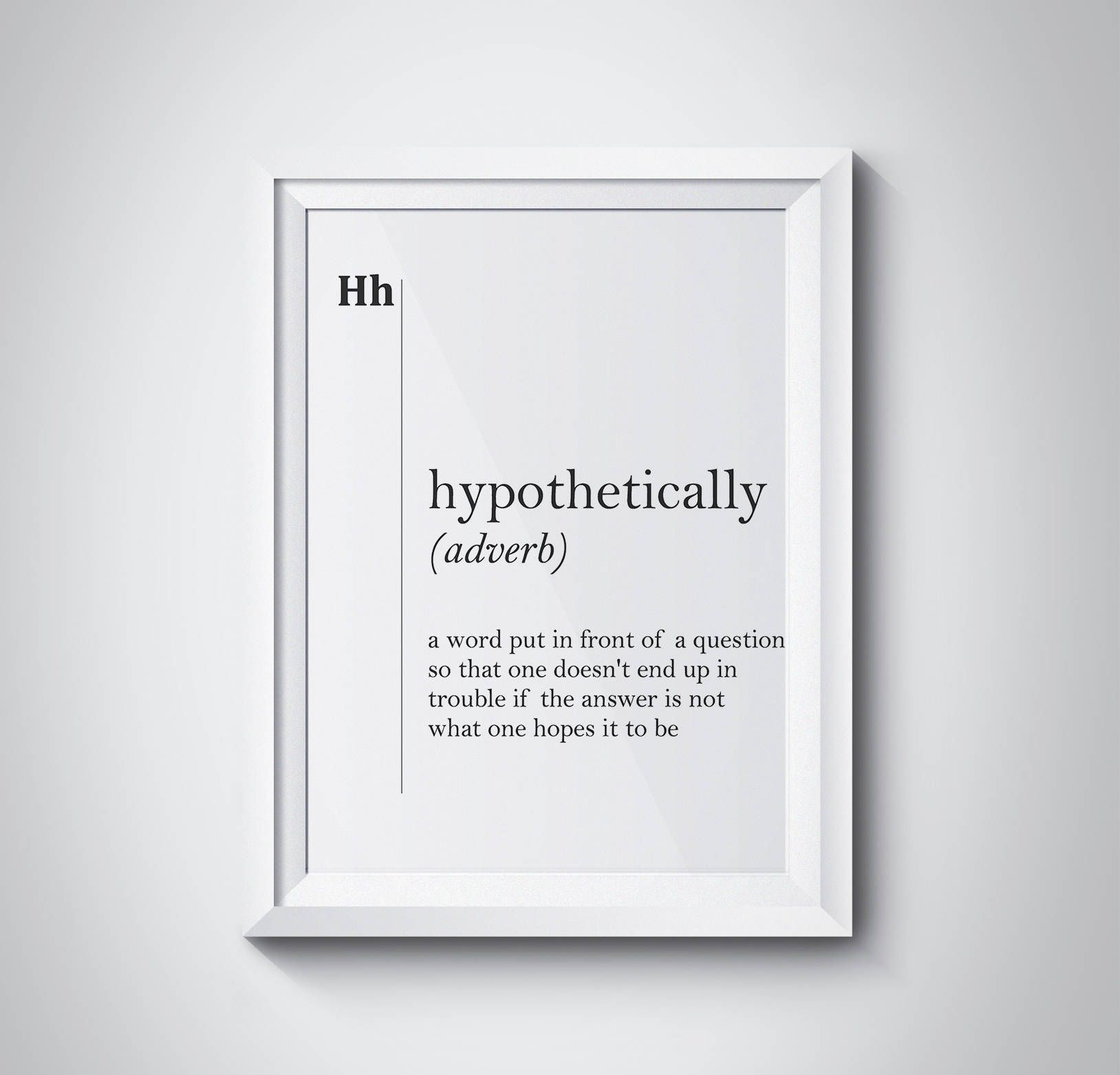 Hypothetically Definition Funny Print Lawyer Gift Modern Art Funny Poster Minimalism Scandinavian Art Office Decor Lawyer Office Decor Print by HQstudio on Etsy