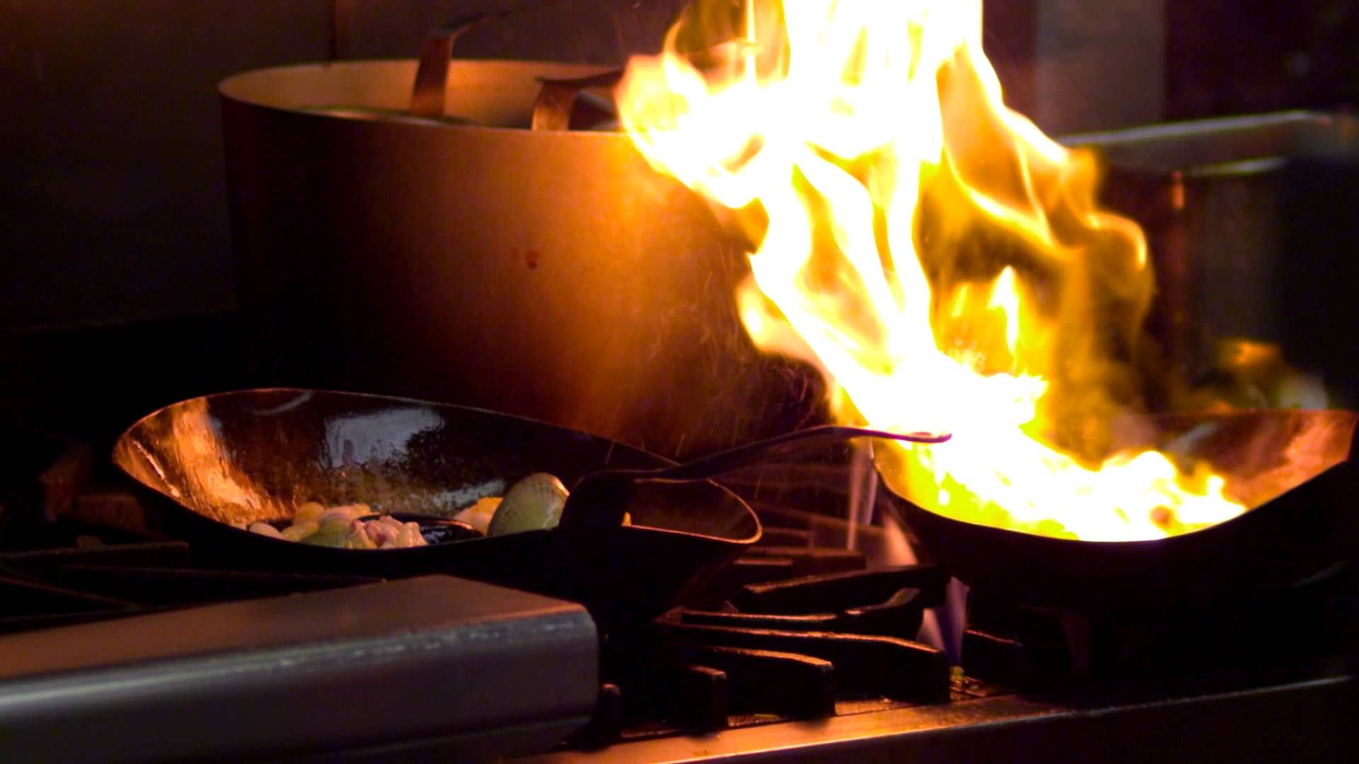 Close Up Of A Chef Cooking Over An Open Flame In Salt Lake City Open Flame Desktop Wallpaper Flames