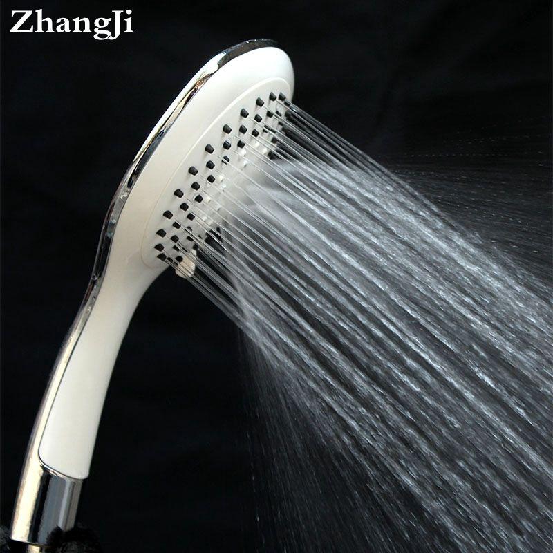 White Ultrathin Water Filter Shower 4 Modes Round Water Saving