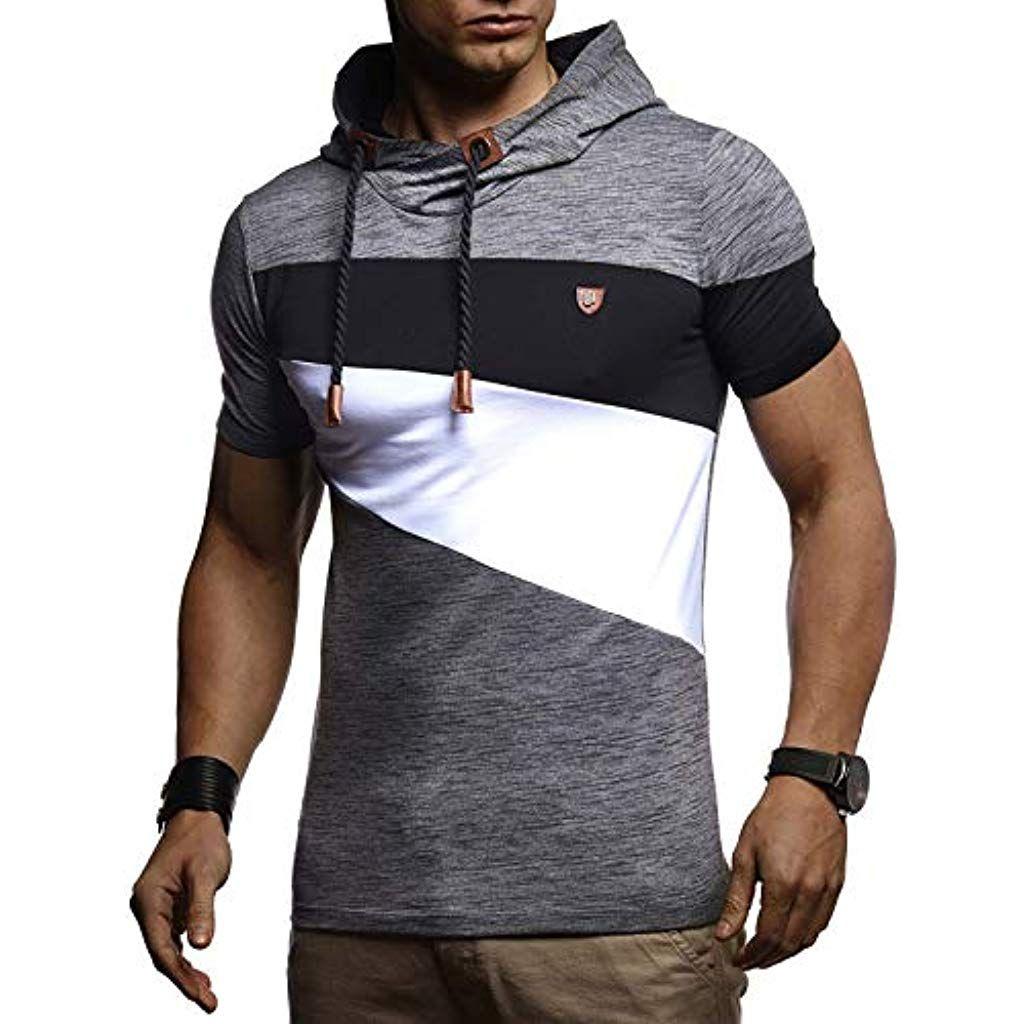 Leif Nelson Herren Sommer T Shirt Mit Kapuze Slim Fit Basic Baumwolle Anteil Basic Manner Kapuzenshi Mens Summer T Shirts Mens Summer Sweatshirt Short Sleeve