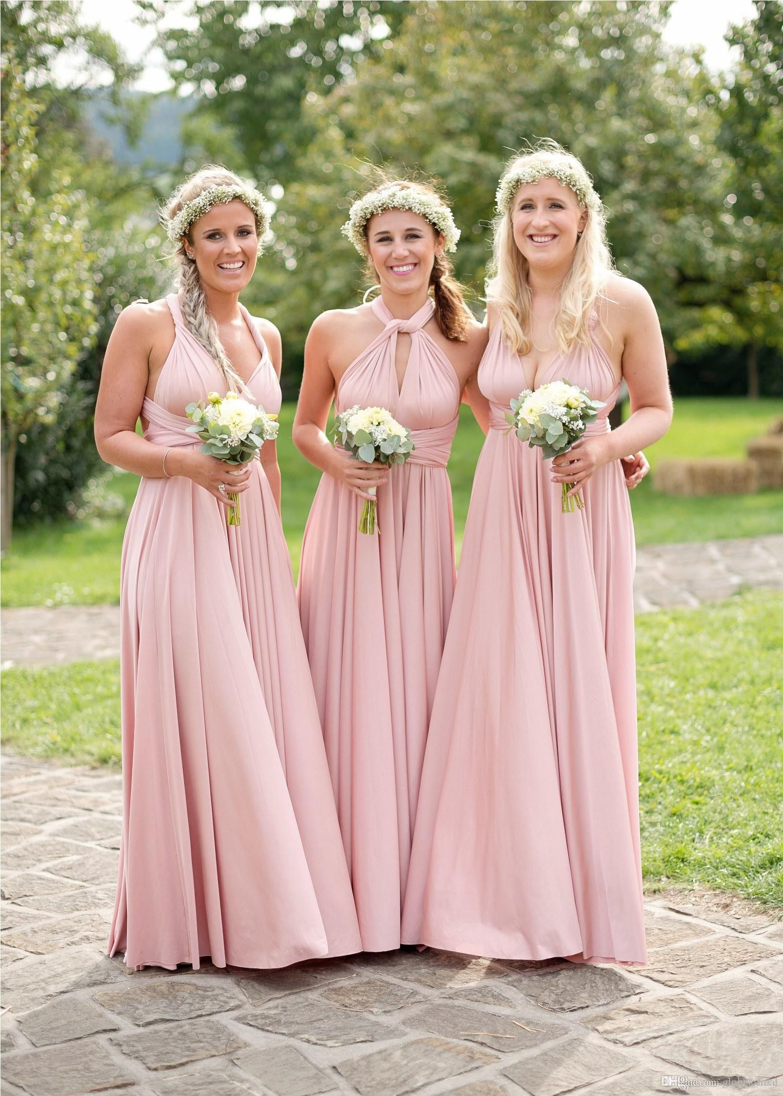A-Line V-Neck Floor Length Pleated Pink Satin Bridesmaid Dress ...