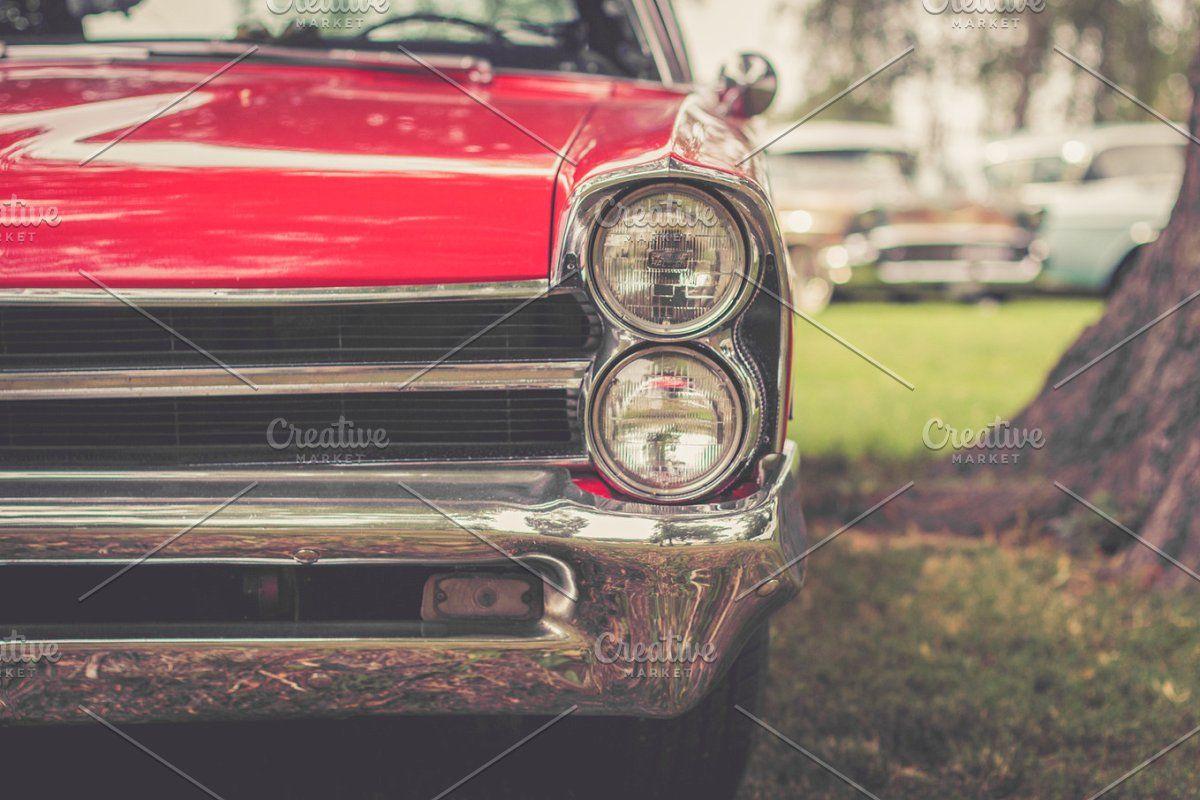 Classic Red Car Headlight Red Car Car Headlights Classic Red Retro vintage red car headlight hd