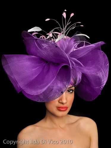 0e36a9849dc52f Purple blossom hat in crin and sinamay. Gorgeous. #judithm #racingfashion