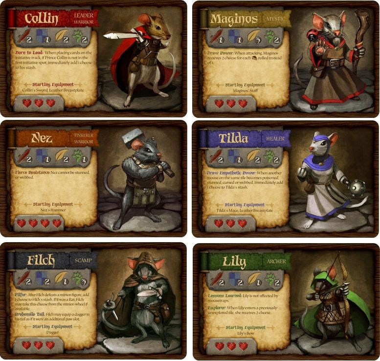 Mice And Mystics Character Cards Vector Character Design Board Games Card Design