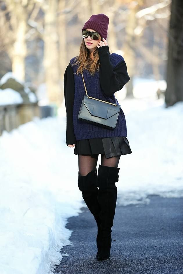 & Other Stories Leather Contrast Sleeves Sweater