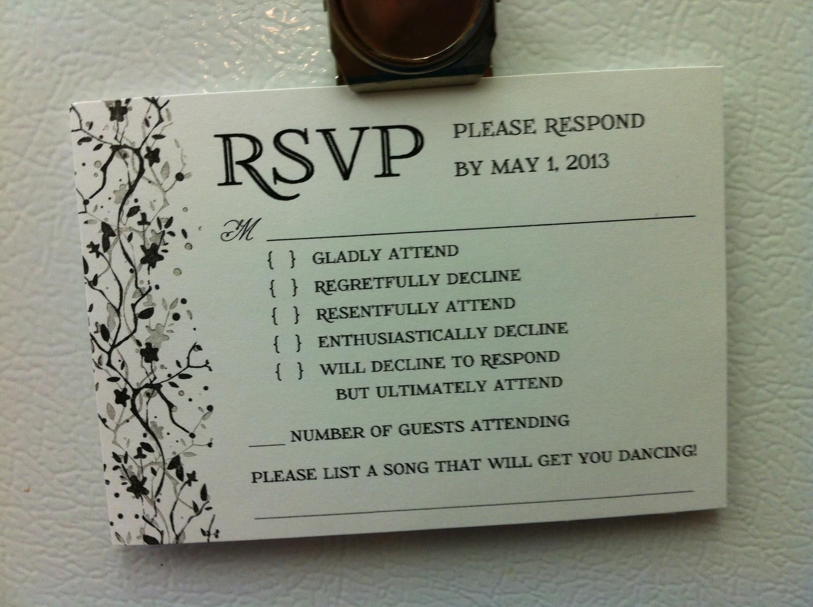 ba6f82aa6c93a16b81576d71348898f9 look clever rsvp is brutally honest,How To Reject A Wedding Invitation