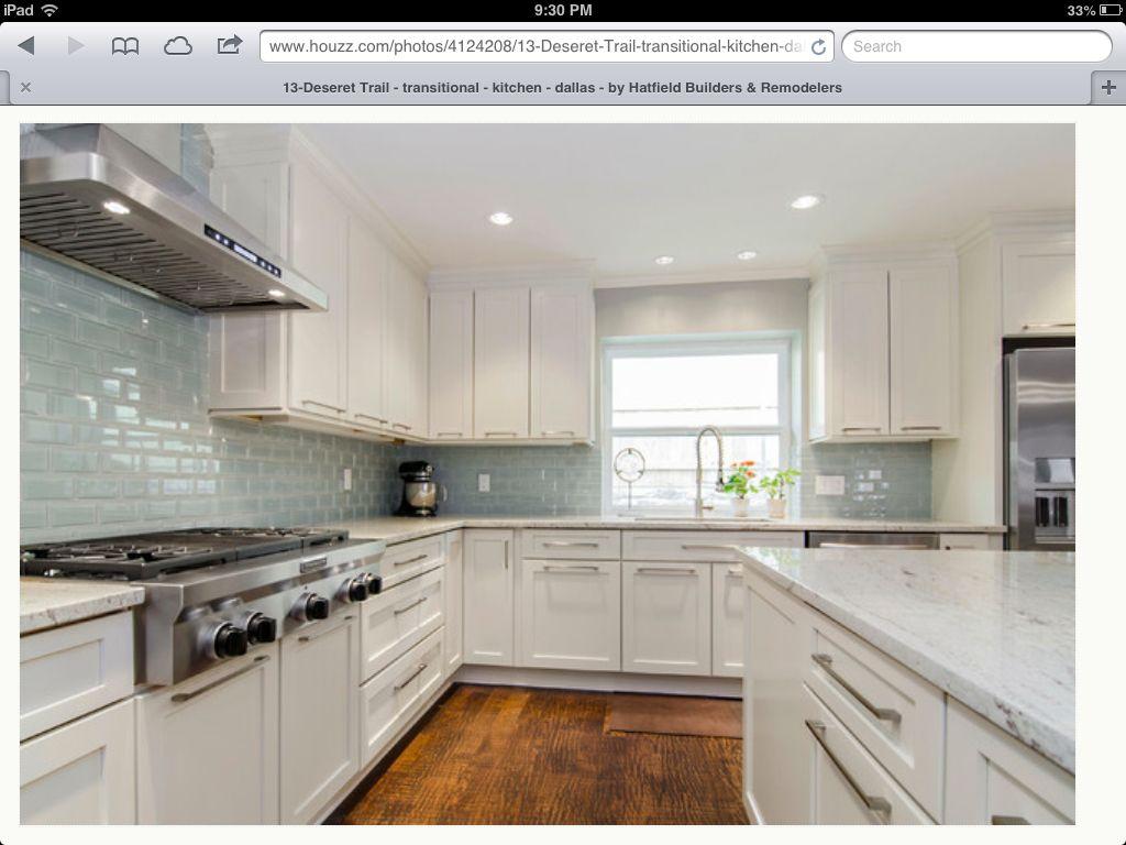 White Kitchen Blue Subway Tile Found On Houzz Com Modern Kitchen Backsplash Backsplash For White Cabinets Kitchen Backsplash Designs