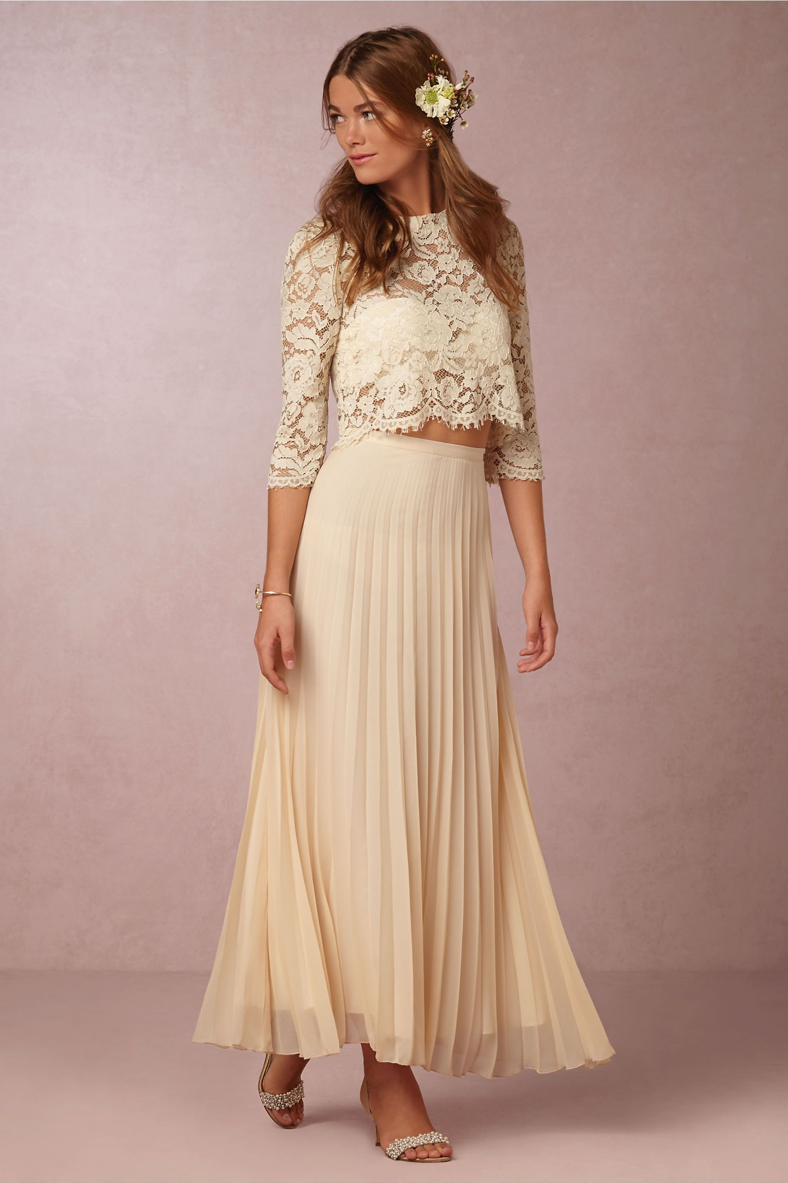 Soft flowy bridal separates for the bohemian bride for Lace maxi wedding dress