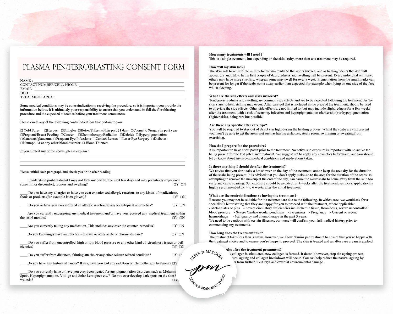 Fibroblast Client Forms Fibroblast Consent Form Plasma Pen Pre And Post Care Instructions Editable Pdf Consent Forms Esthetician Pre And Post