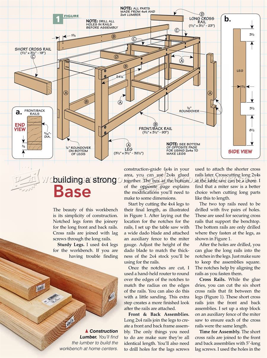 2381 Heavy Duty Workbench Plans Workshop Solutions Benches Diy