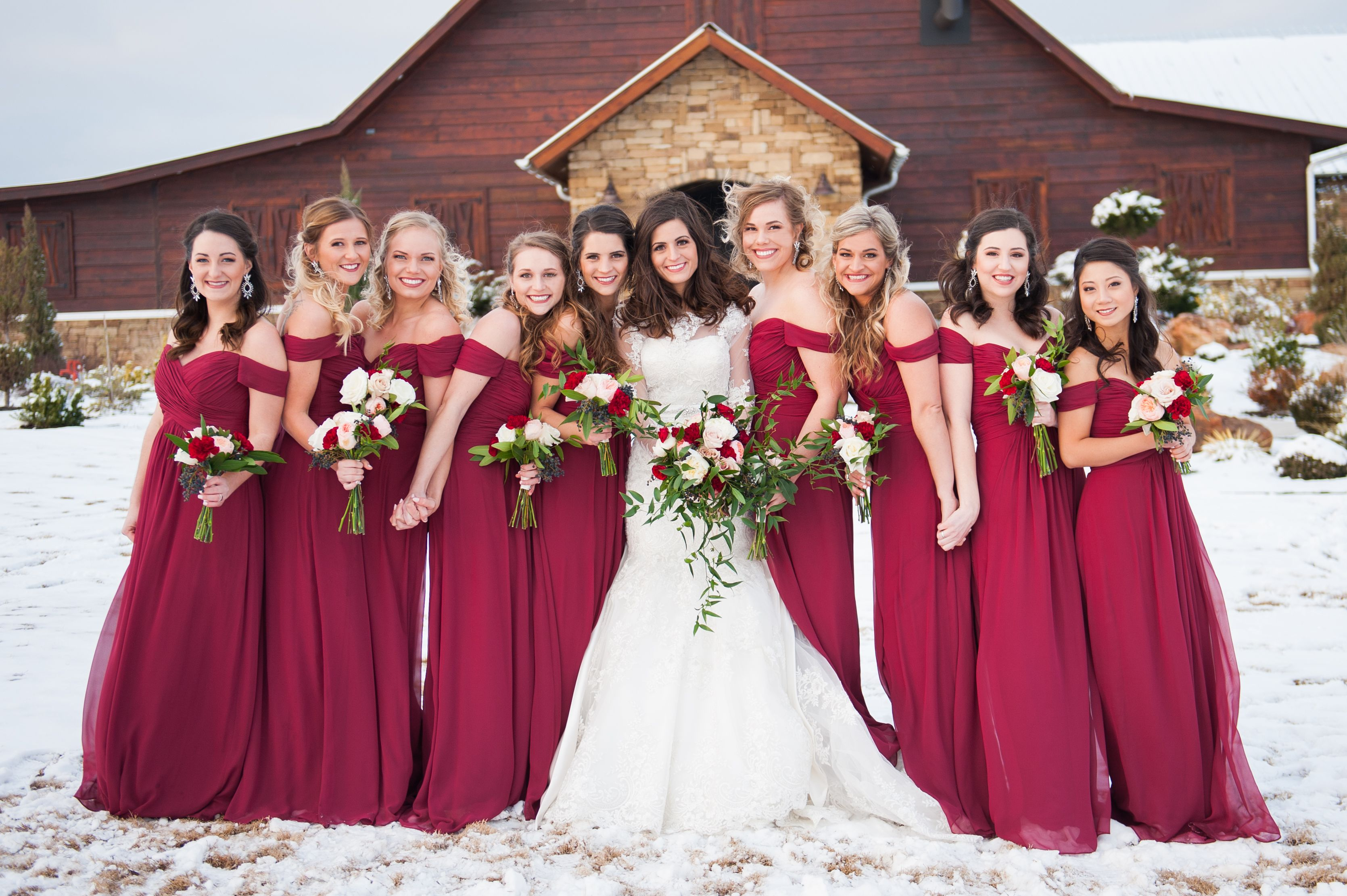 Off The Shoulder Bordeaux Bridesmaid Dress Bridesmaid Winter