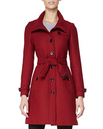 78feed06cf2 Wool-Blend Trench Coat Red   Jacket   Burberry brit, Coat, Burberry