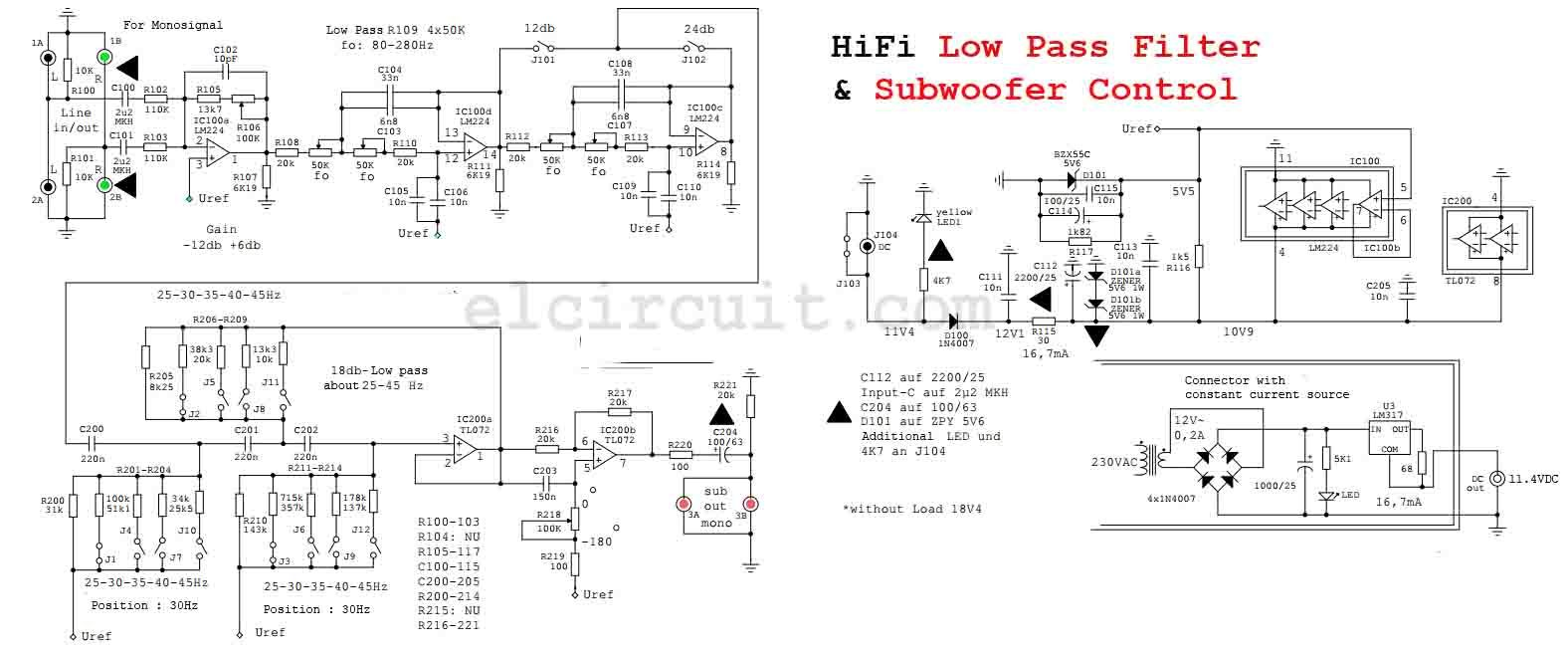 High-Quality Subwoofer Low Pass Filter Circuit Diagram