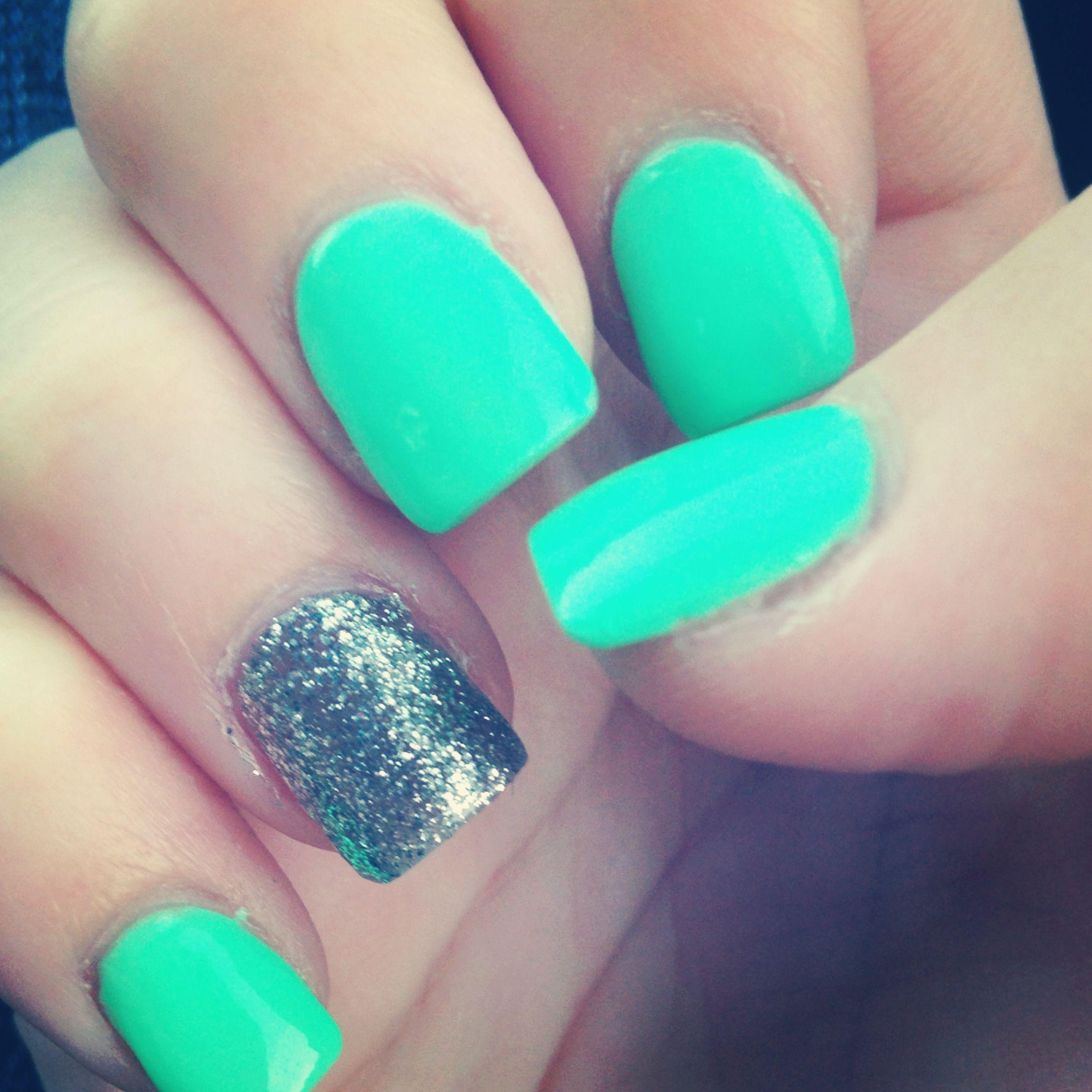 Nails Acrylic Fakenails Nailideas Pretty Silver Glitter Sparkle Sparkles Blue Aqua Teal Green Turquoise Gorg Fall Acrylic Nails Teal Nails Nails