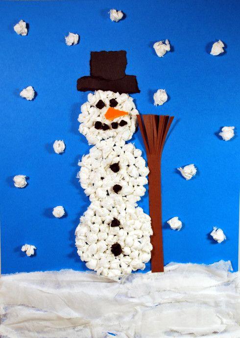 schneemann aus kn lltechnik kinderspiele kids crafts snowman christmas crafts und. Black Bedroom Furniture Sets. Home Design Ideas