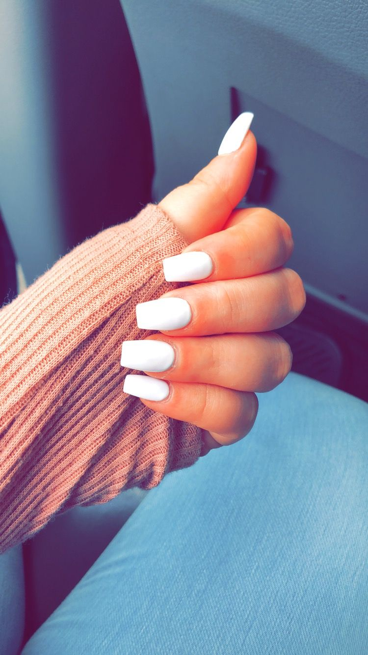 White Coffin Nails White Coffin Nails Coffin Shape Nails Formal Nails