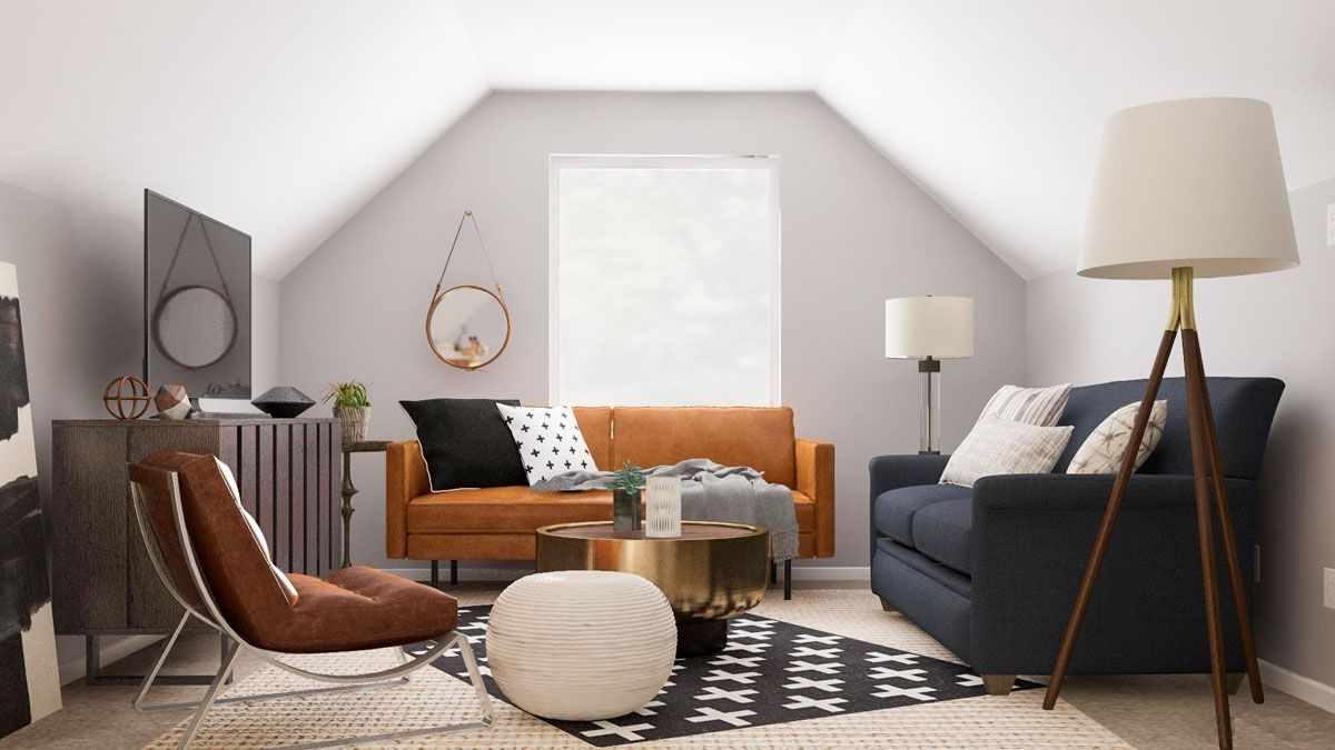 Layout Guide Turning An Attic Loft Into A Family Room Office Space Awkward Living Room Layout Attic Living Rooms Livingroom Layout Living room re design
