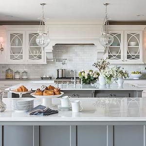 White Kitchen Grey Island casa verde design - kitchens - double islands, double kitchen