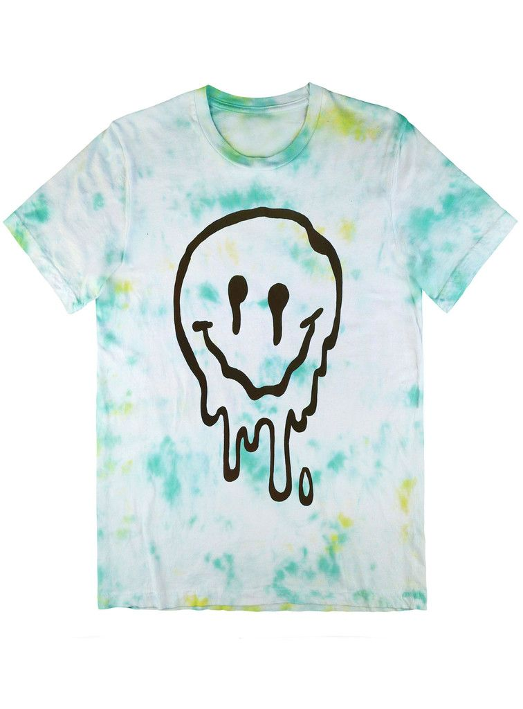 Melted Smiley Tee Black on Tie Dye – Killer Condo