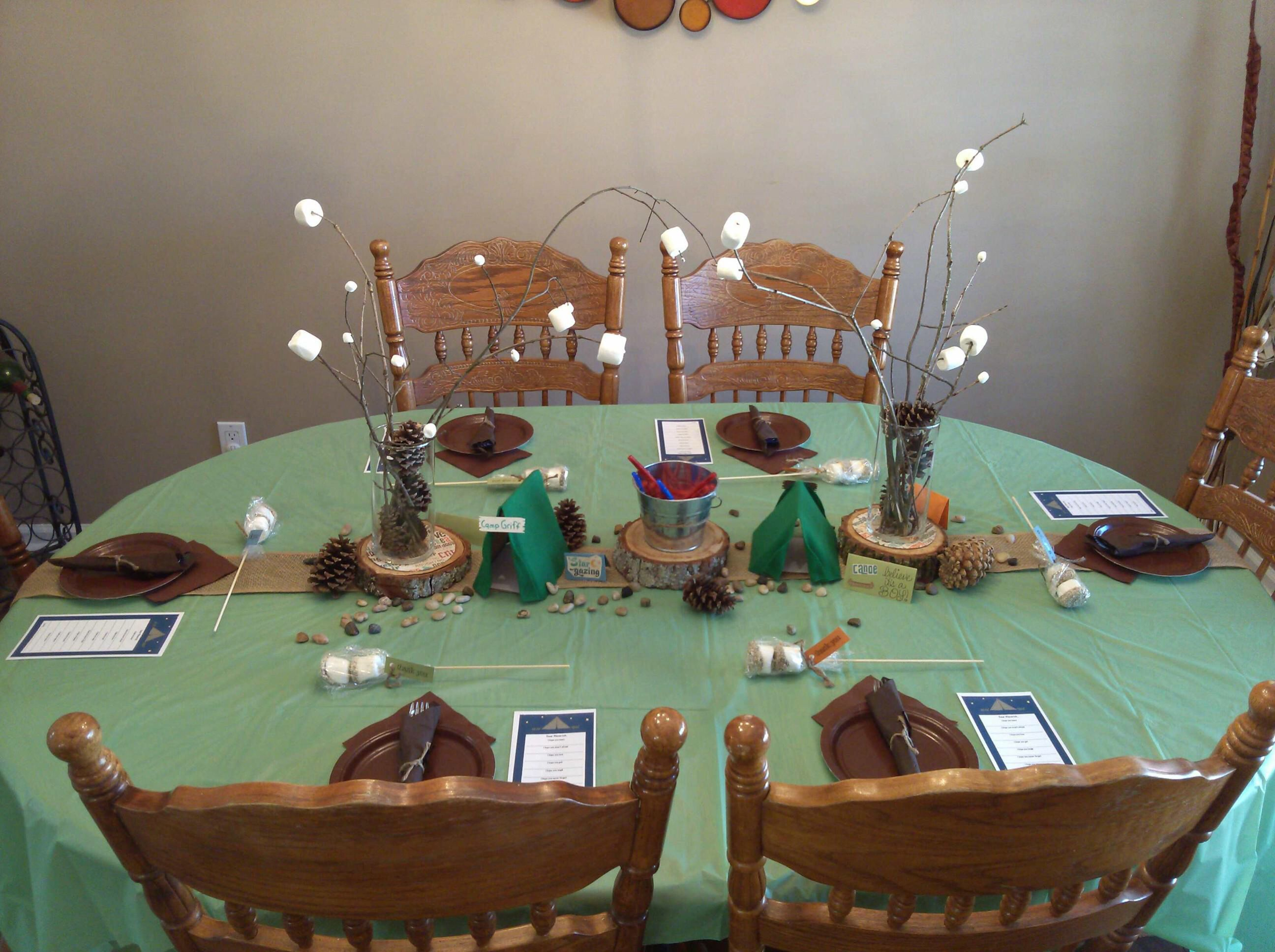 Camping Themed Baby Shower Table Setup