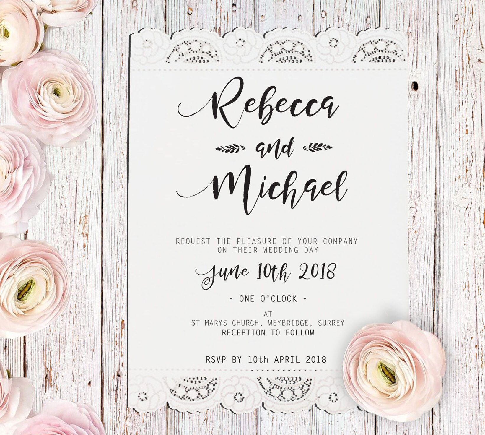 Boho Wedding Invitation, Lace Wedding Invite, Rustic Wedding ...