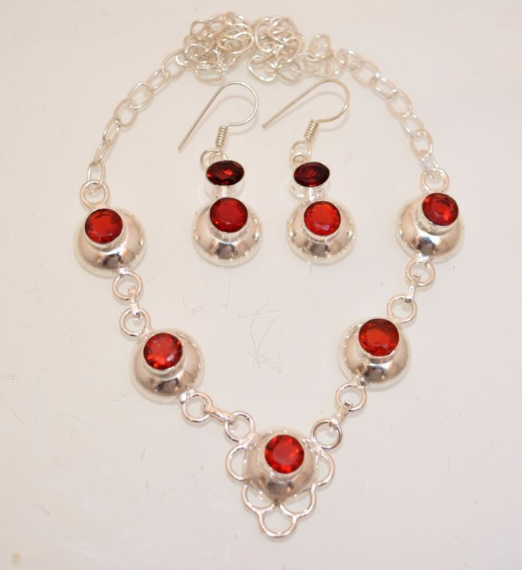 Halloween Party Wear Garnet Quartz 925 Silver Plated Necklace With Earring A74 #valueforbucks #Bib