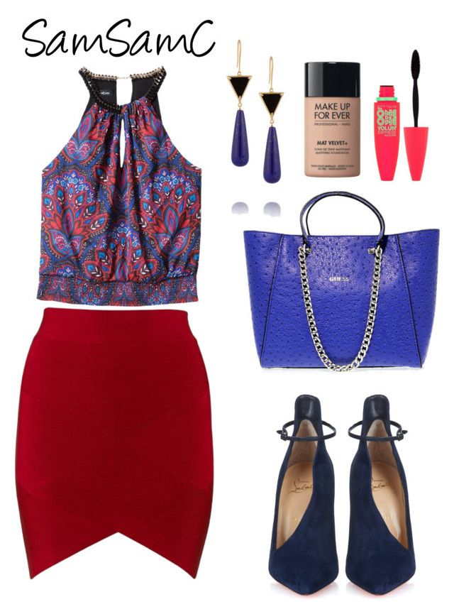 """""""# 080 ♡"""" by samchoo ❤ liked on Polyvore featuring Bebe, Christian Louboutin, Elizabeth and James, GUESS, MAKE UP FOR EVER and Maybelline"""