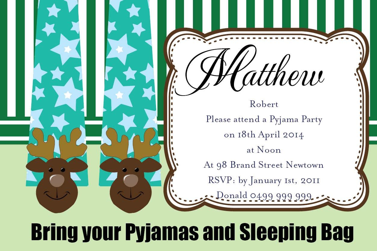 Pajama Birthday Party Invitations | Pajama Party | Pinterest ...