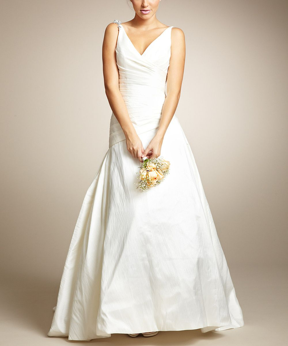 White Embellished Pleat-Accent Drop-Waist Wedding Gown