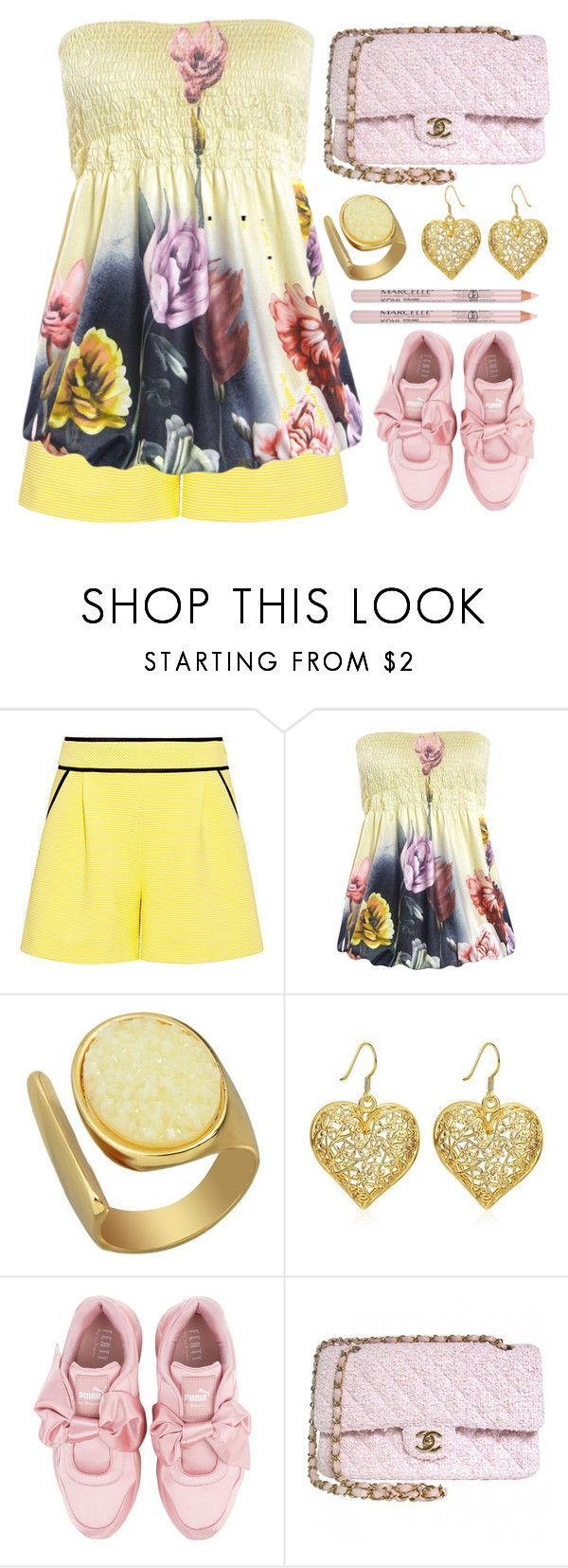 """Off the shoulder"" by simona-altobelli ❤ liked on Polyvore featuring Boutique Moschino, Puma and Chanel"