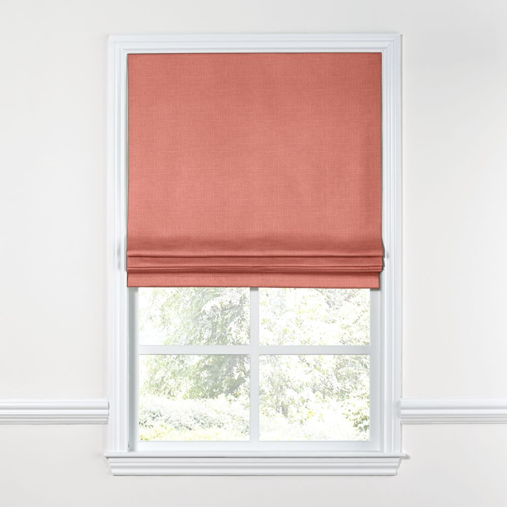 Warm Pink Lightweight Linen Custom Flat Roman Shade | Loom Decor