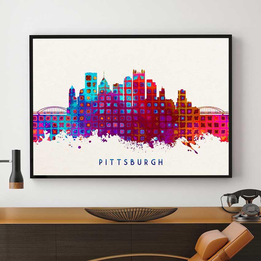Pittsburgh Skyline Art Painting Wall Home Decor
