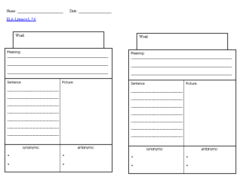 Vocabulary Knowledge Template ELA-Literacy.L.7.6 Language ...
