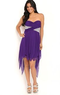 Strapless Homecoming Dress with Stone Waist and Hanky Hem Skirt