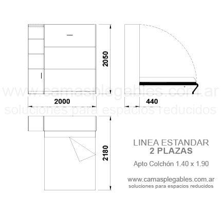 Mueble Cama 2 Plazas Rebatible Simple Con Módulo Lateral Apto Para Colchón 1 40 X 1 90 Medidas De Colchones Camas Medidas De Cama