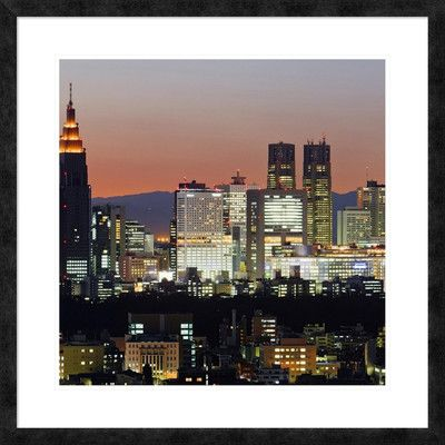 Global Gallery 'City Skyline, Shinjuku District, Tokyo, Japan' Framed Graphic Art Size: