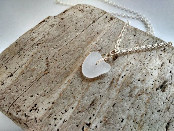 Small Frosted Genuine Naturally Heart by MadeByTheBaySeaGlass