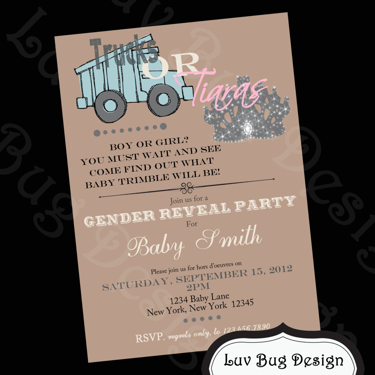 PRINTABLE Trucks or Tiaras Themed Baby Shower or Gender Reveal