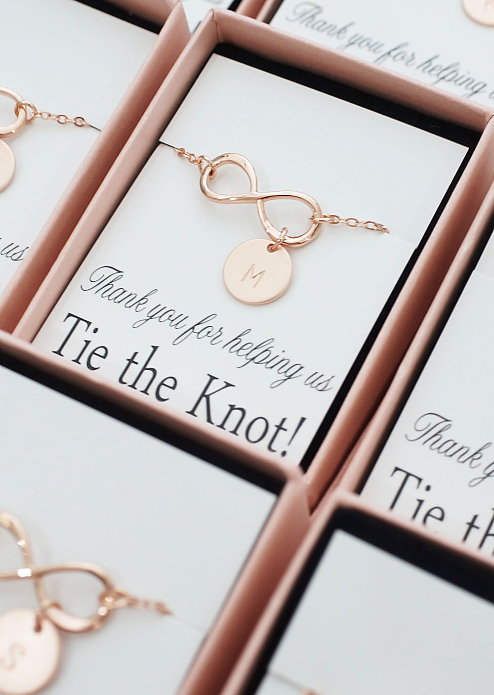 Personalized infinity bracelets for bridesmaids from EarringsNation  Rose gold w…