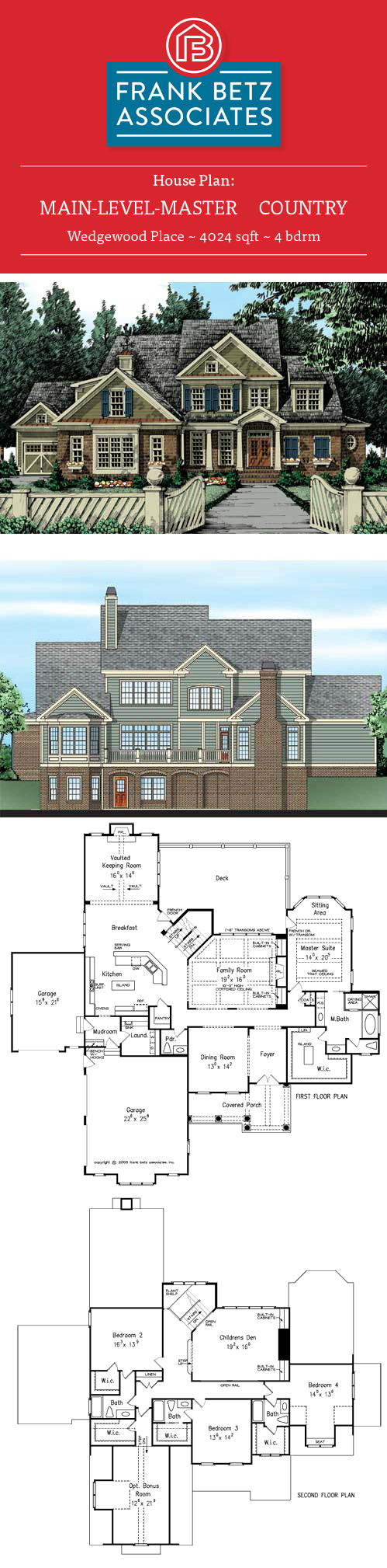 Betz house plans with large kitchen frank house plans designs ideas - Wedgeood Place 4024 Sqft 4 Bdrm American Country Style House Plan Design By Frank