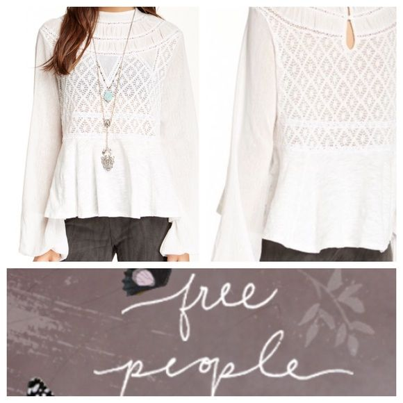 FREE PEOPLE Embroidered Lace Blouse - Crew neck - Long bell sleeves with elasticized cuffs - Back keyhole with button closure - Knit with lace and crochet panels - Imported Fiber Content: Body: 73% cotton, 27% polyester Trim: 100% cotton Free People Tops Blouses