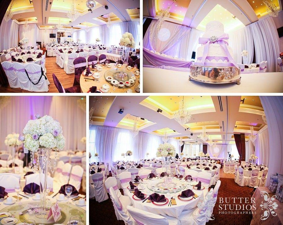 Reception Decor Purple Chinese Restaurant Wedding Flowers Vancouver Engagement Pre