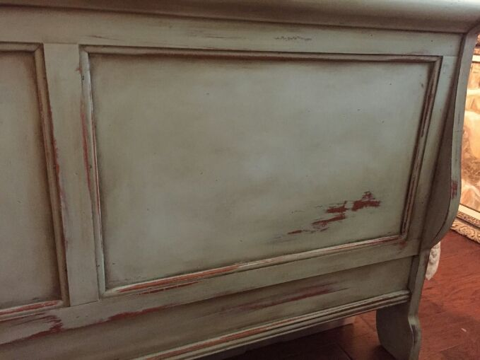 Chalk Paint & Wax Distressed Sleigh Bed